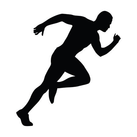 sprint: Sprinting man silhouette. Sprint, fast run. Runner starts running. Start.