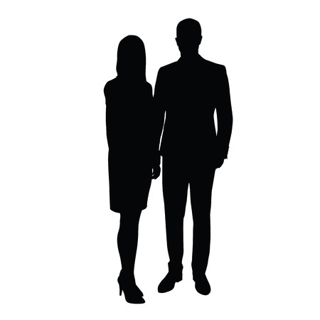 skirt suit: Man and woman in formal wear standing side by side. silhouette of couple. A man in a suit, a woman in a skirt with high-heeled shoes. Traders, retailers, couples, businessmen, lawyers, managers