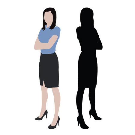folded arms: Business women, isolated silhouette and illustration. Standing woman standing with folded arms, dark skirt, high heels