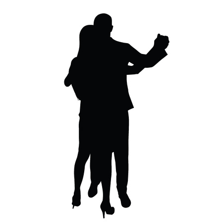 suit skirt: Dancing couple. A man in a suit and a woman in a skirt and shoes on high heels. Two young people love, romance, dancing. Social life. Illustration