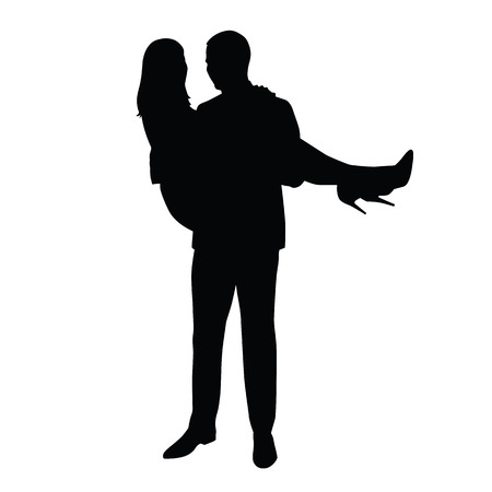 heels shoes: Man carries woman in his arms. silhouette of the happy couple. Man in suit, woman in skirt and high heels shoes Illustration