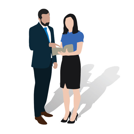 explaining: Business man and woman consults over book. Agreeing during presentation, brainstorming, explaining. Lawyers advise. Discussion of corporate strategy. drawing figures throwing shadow. Silhouettes illustration
