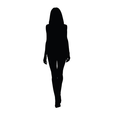 legs sexy: Silhouette slim tall women. Front view. Vector silhouette of sexy girl. Catwalk silhouette. Long legs, shoes on high heels