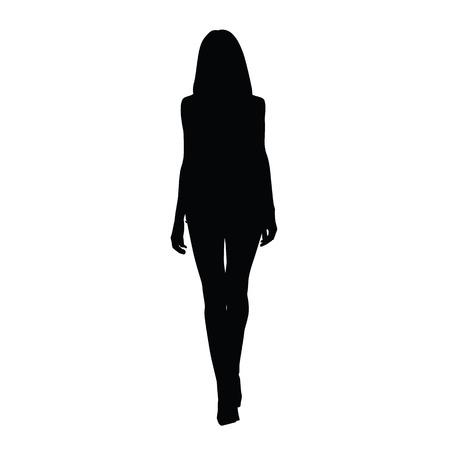 Silueta de las mujeres altas delgadas. Vista frontal. Vector silueta de la muchacha atractiva. silueta pasarela. piernas largas, zapatos de tacones altos Foto de archivo - 58020305