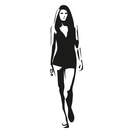 women body: Tall slim model woman goes ahead, vector silhouette Illustration