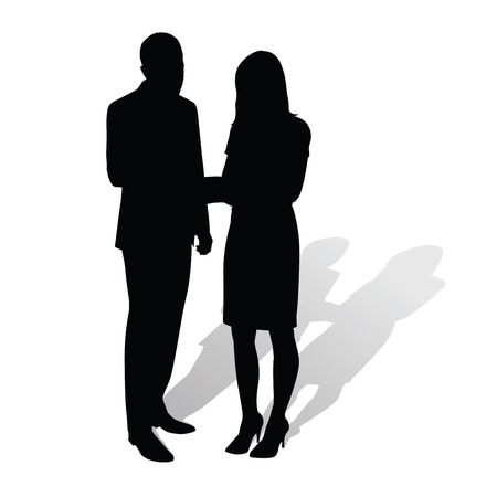 lady silhouette: Business people. Man talking to woman. Vector silhouettes with shadow. Businessmen in formal wear. Man in suit, woman wearing stilettos high heels and skirt Illustration