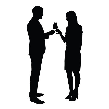 partying: Business man and woman celebrating with a glass of champagne. Vector silhouettes of a young couple who toasts to the birthday celebration, success, anniversary