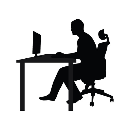 Man sitting on office chair at table and working on computer. Side view. Vector silhouette. Man working in office at desk and staring into monitor