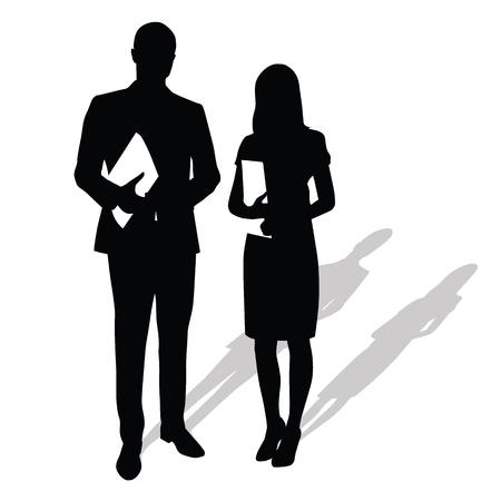 Bedrijfs mensen die stukken en documenten. De mens staat naast de vrouw. Vector silhouetten met schaduw. Zakenlieden in formele slijtage. Man in pak, vrouw het dragen van stiletto hoge hakken en een rok