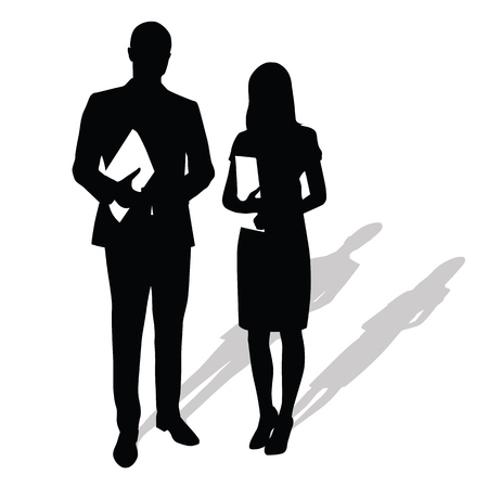 two men talking: Business people holding papers, documents. Man stands next to woman. Vector silhouettes with shadow. Businessmen in formal wear. Man in suit, woman wearing stilettos high heels and skirt