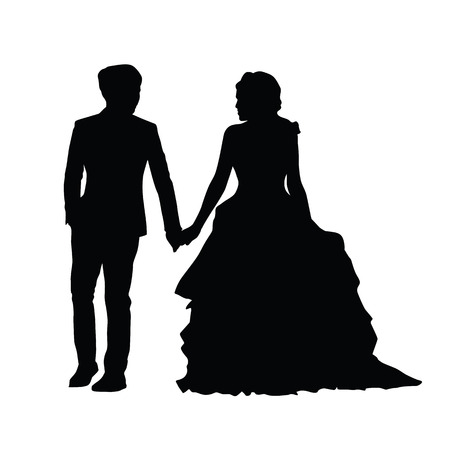 Wedding, newlyweds go side by side, holding hands. Man holding a womans hand. Vector silhouette of couple. Husband in suit and wife in a long dress Illustration