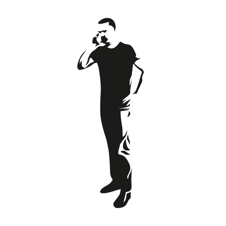 man at the phone: Man on the phone while standing illustration. Vector silhouette of a man with a mobile phone Illustration