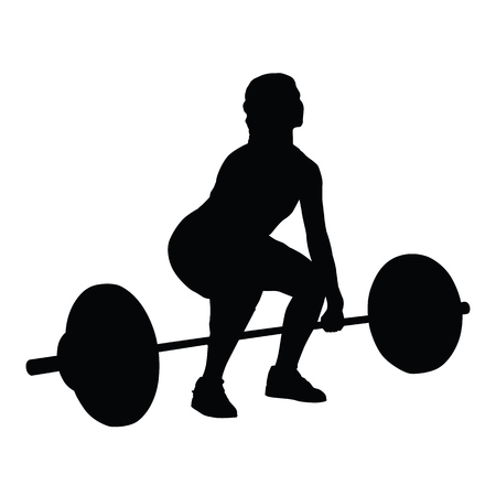 Weight lifting woman vector silhouette Illustration