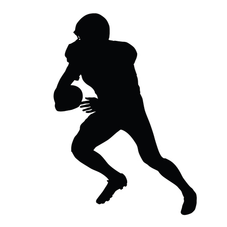 american vintage: American football player, vector isolated silhouette. Running football player, side view