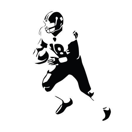 black american: American football player vector illustration. Running isolated football player