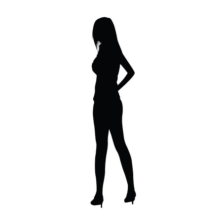 heels shoes: slim woman silhouette standing on high heels shoes. Tall slim girl vector silhouette