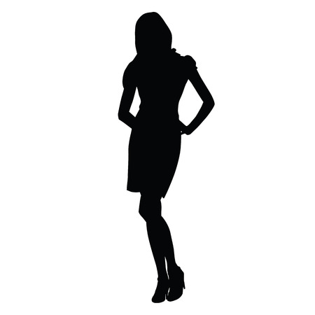 heels shoes: Sexy slim woman silhouette standing on high heels shoes. Tall slim girl vector silhouette. Woman standing with hands on hips Illustration