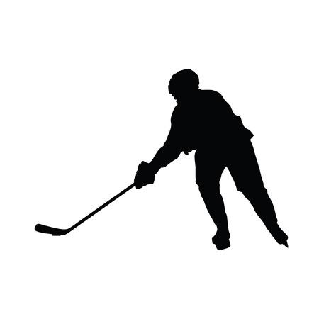 ice hockey player: Hockey player vector silhouette, ice hockey winter sport Illustration