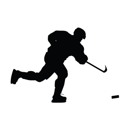 ice hockey player: Ice hockey player vector silhouette. Hockey player shoots the puck on goal, isolated silhouette. Shooting hockey player