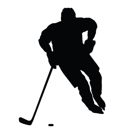 Hockey player vector silhouette, front view, ice hockey winter sport, isolated ice hockey player