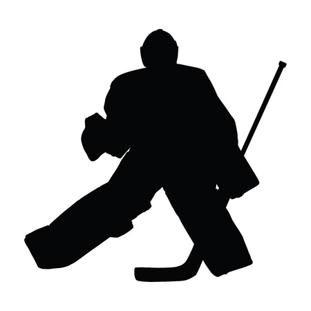 hockey goal: Goalie in ice hockey moves across ice in hockey goal. Hockey goalie vector silhouette Illustration