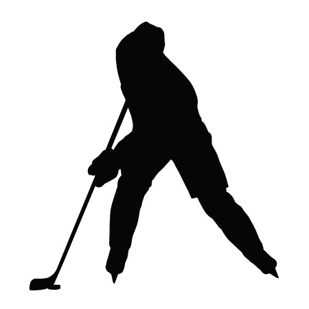 ice hockey player: Hockey player vector silhouette, front view, ice hockey winter sport, isolated ice hockey player