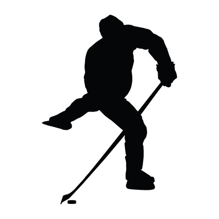 shooting at goal: Ice hockey player vector silhouette. Hockey player shoots the puck on goal, isolated silhouette. Shooting hockey player