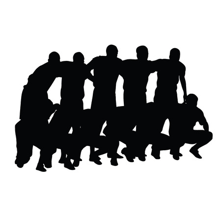 photo shoot: Football team pose for photographers before the game. Vector silhouette of a soccer team. Soccer players standing or kneeling in a joint photo shoot