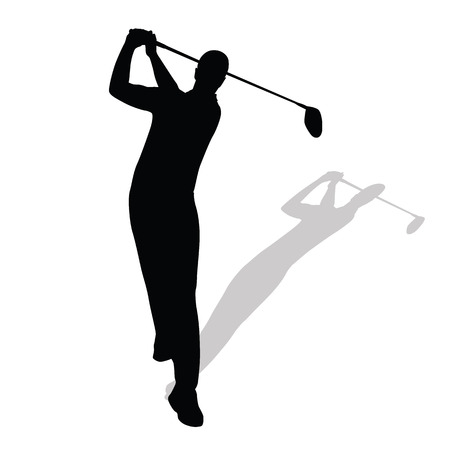 golfer swinging: Golf player, golfer hits ball, rear view. Vector silhouette of golfer casting shadow