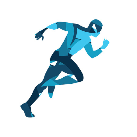 Abstract blue vector runner. Running man, vector isolated illustration. Sport, athlete, run, decathlon Çizim