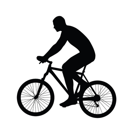 cyclist silhouette: Cyclist riding mountain bike. The view from side. Vector silhouette of cyclist without helmet Illustration