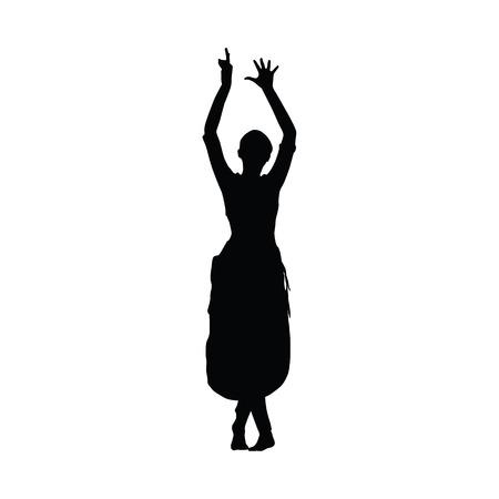 traditional dance: Sri Lanka dancing. Woman Kandy dancer. Vector silhouette. Slim beautiful girl dancing traditional dance Illustration