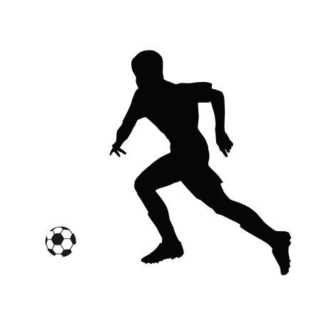 footballer: Running soccer player vector silhouette. Footballer running for the ball