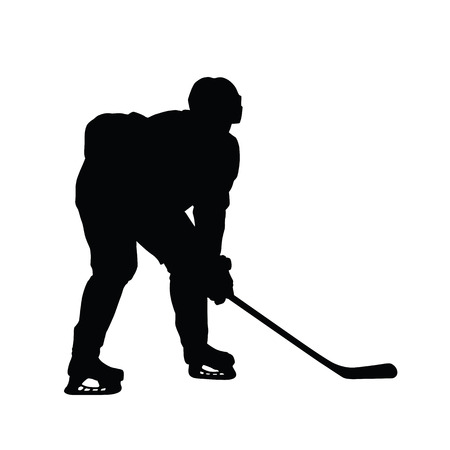 ice hockey player: Silhouette of ice hockey player Illustration
