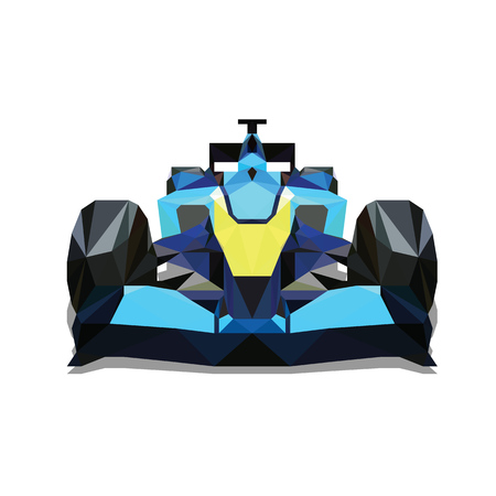 racing: Polygonal formula car. Colorful vector formula racing car, one abstract geometric automobile. Front view