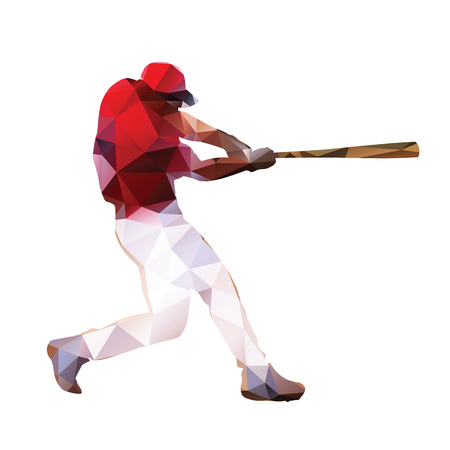 red ball: Abstract baseball player. Geometrical isolated silhouette. Baseball batter with baseball bat and batting ball