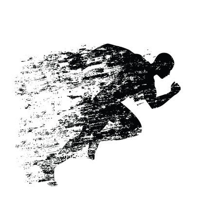 Splash runner silhouette, ink running man. Grungy vector silhouette