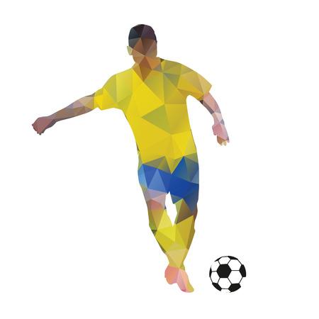 giocatore di calcio astratto. Calci palla. calciatore poligonale, geometrica vettore giallo calcio silhouette giocatore