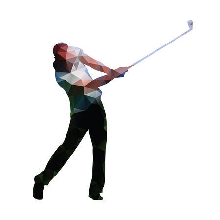 Golf. Abstract geometric golf player. Polygonal golfer silhouette Vettoriali