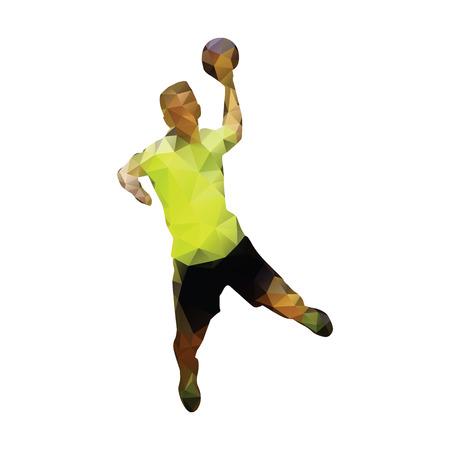 Handbal speler abstract geometrische silhouet. Polygonal handbal speler. gooit man bal naar het doel