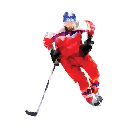 Veelhoekige ijshockeyspeler. Abstracte rode vector geometrische hockey speler. Geïsoleerde vector silhouet. Wintersport
