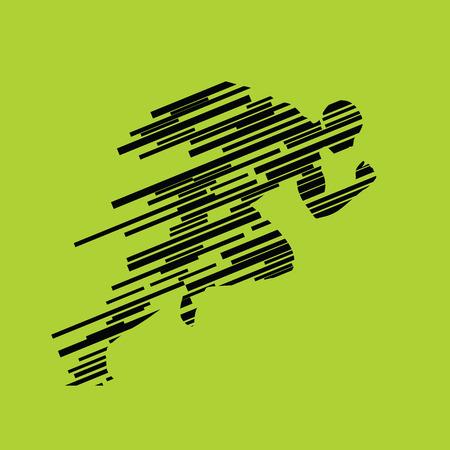 Biegaj, biegnącego człowieka z linii, wektor abstrakcyjna sylwetkę. Profil Runner. Sprinter nabiera tempa na początku