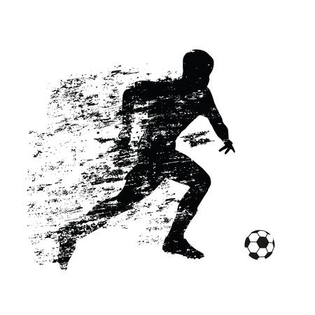 Abstracte voetballer loopt met de bal. Grunge schaduw achter een lopende atleet. Voetballer vector silhouet
