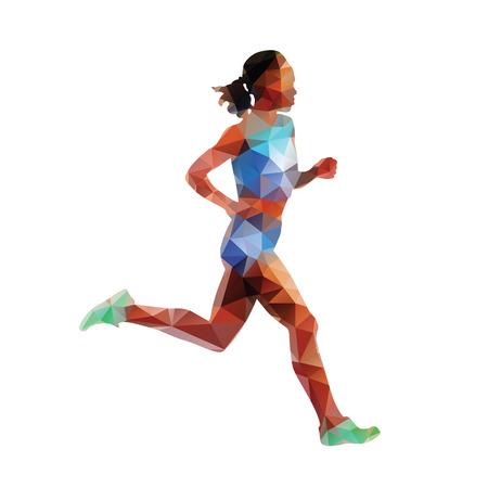 Correr, funcionamiento de la mujer, vector silueta geométrica. deporte del verano. corredor poligonal
