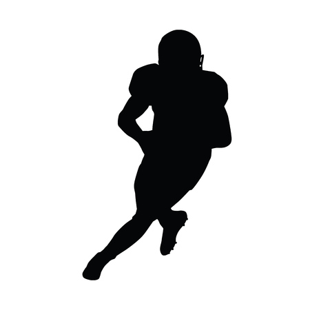 quarterback: American football player running with ball. Quarterback vector silhouette Illustration