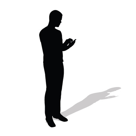 holding smart phone: Businessman stands and reads message on her mobile phone. Vector silhouette of man with cell phone. Standing man with shadow silhouette Illustration