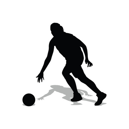 dribbling: Running basketball player woman. Dribbling point guard. Run, shadow, girl. Basketball player vector silhouette