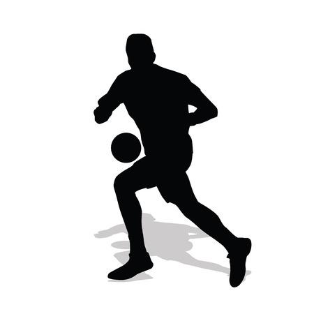 break fast: Handball player runs counterattack. Vector silhouette handball player running with ball. Shadow, fast break
