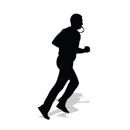 Basketball referee running with whistle in his mouth. Vector silhouette of referee with shadow Ilustrace