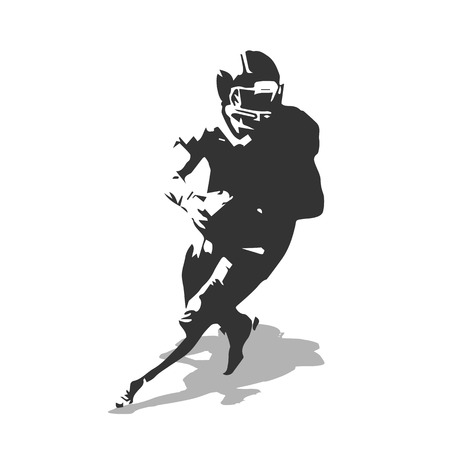 black: American football player vector illustration. Running isolated football player. Sport, quatterback, shadow, vector silhouette